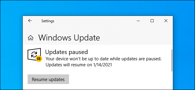 "Windows Update showing ""Updates paused"" on Windows 10."