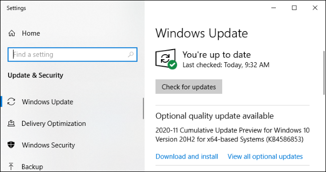 """Windows Update showing an """"optional quality update available."""""""