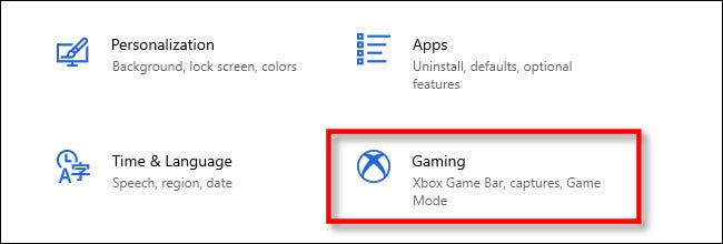 "In Windows Settings, click ""Gaming."""