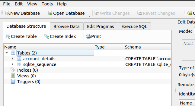 DB Browser for SQLite displaying the structure of the database
