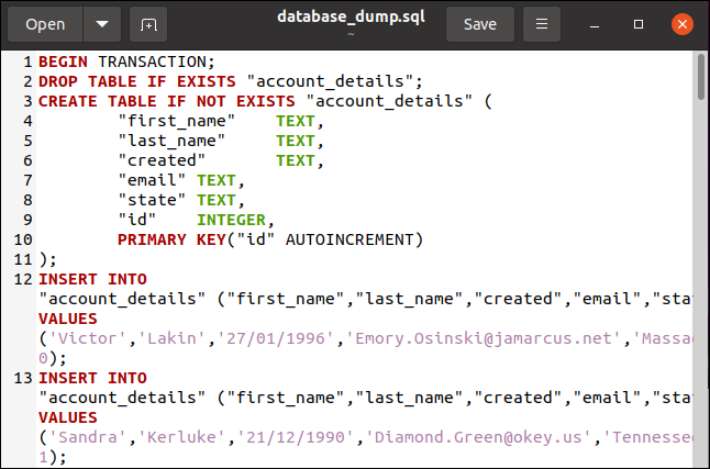 A SQL database dump file in the gedit editor