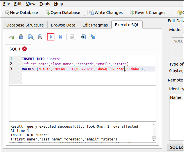 Execute SQL pane in DB Browser for SQLite
