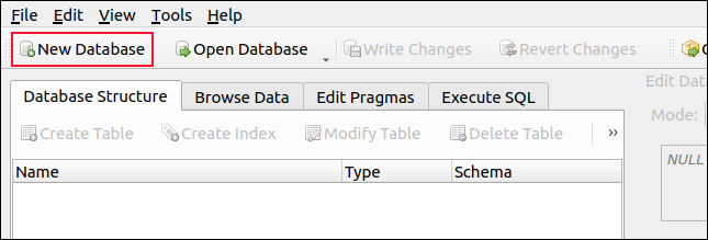New Database on the DB Browser for SQLite toolbar