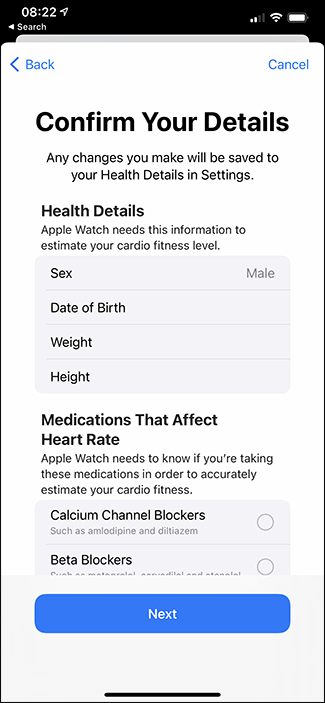 confirming details for cardio fitness levels