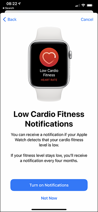 enabling notifications for low fitness levels