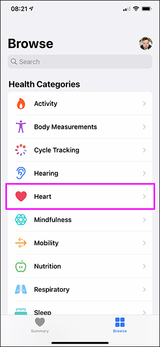 selecting heart option in health app