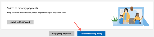 Click Disable Recurring Billing