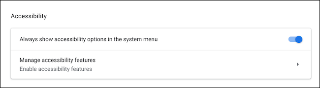 Visit the accessibility menu on Chromebook