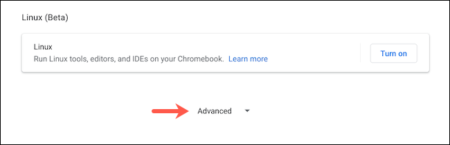 Reveal advanced settings on Chromebook