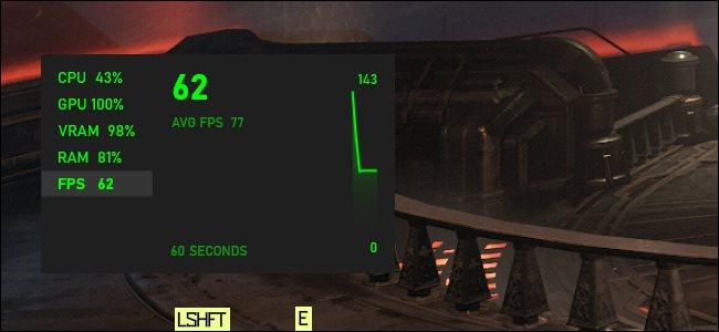 A Windows 10 FPS-grafikonja lebeg a PC-játék felett.