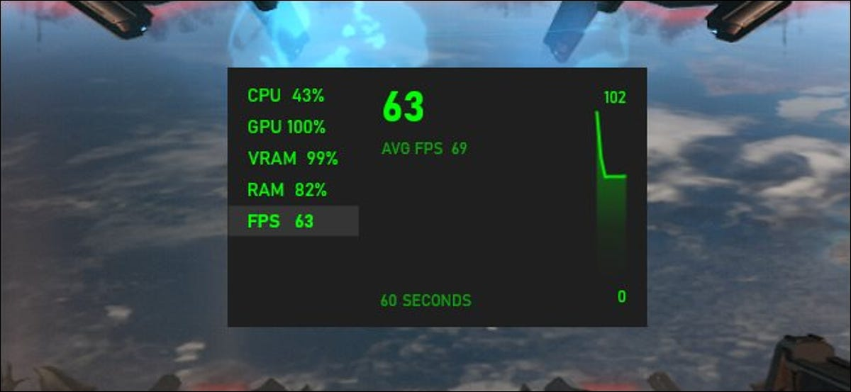 The FPS counter in Windows 10's Xbox Game Bar.
