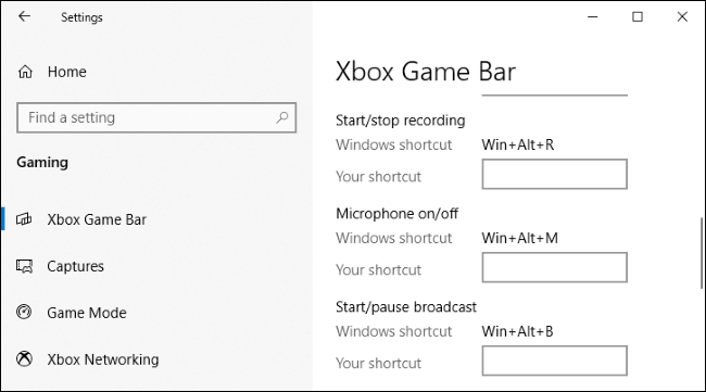 The Settings > Gaming > Xbox Game Bar window on Windows 10.