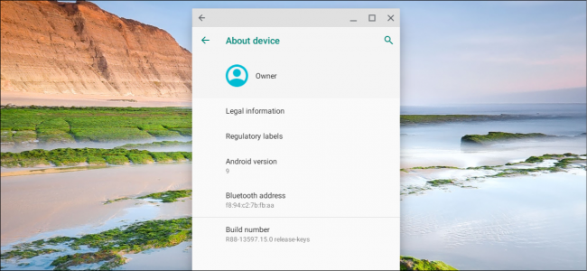 Android settings on a Chromebook
