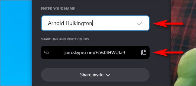 Enter your name and copy the link.