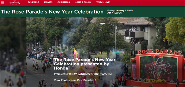 The New Year's Eve celebration of the Rose Parade on Hallmark Channel