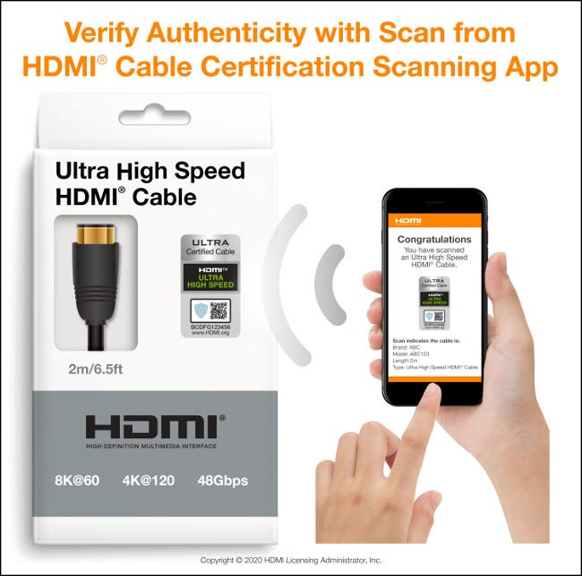 Scan app for HDMI cable certification for iOS and Android