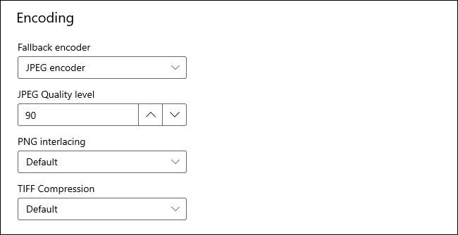 """The """"Encoding"""" options in the PowerToys Image Resizer module."""