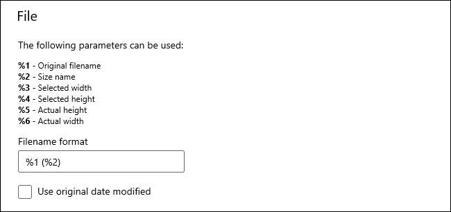 """The """"File"""" options in the PowerToys Image Resizer module."""