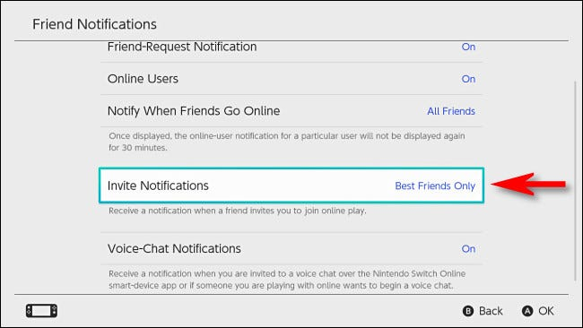 In Switch User Settings, set the 'Invite Notifications' option to 'Best Friends Only'.