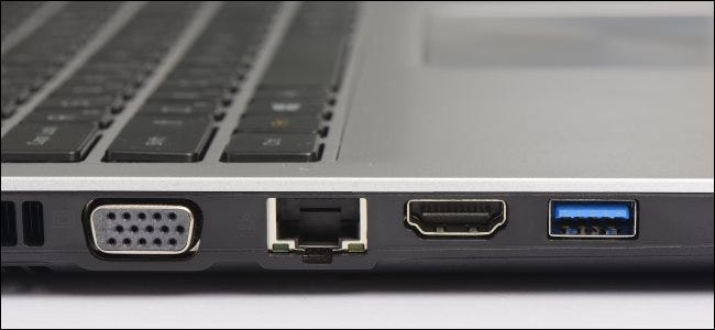 USB 3.0, Ethernet and graphics ports on a laptop computer.