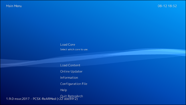 RetroArch first boot