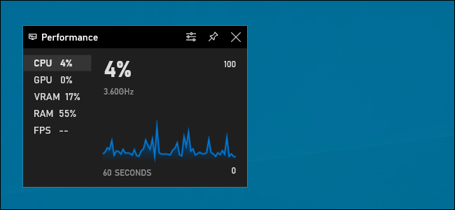 The Performance widget displays a CPU usage graph in Windows 10's Xbox Game Bar.