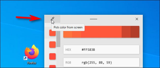 In the Color Picker, click the eyedropper button to choose a different color.