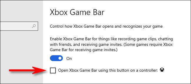 Clear this check box to disable the Xbox button in Windows 10