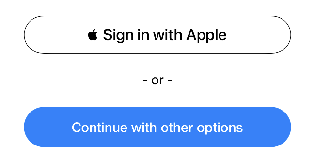 Log in with the Apple Login button