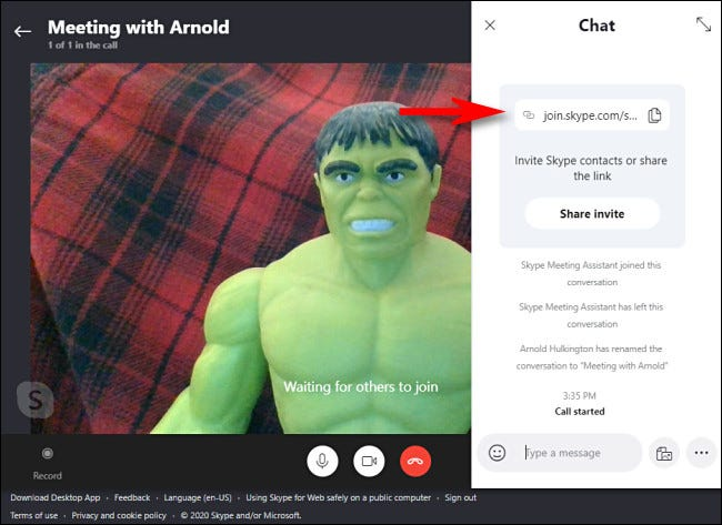 In Skype Meet Now, you can find the invitation code at the top of the chat history.