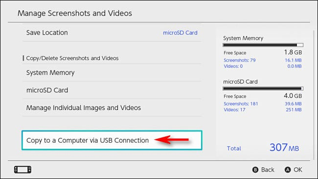 "In Switch ""Manage Screenshots and Videos,"" select ""Copy to a Computer via USB Connection."""