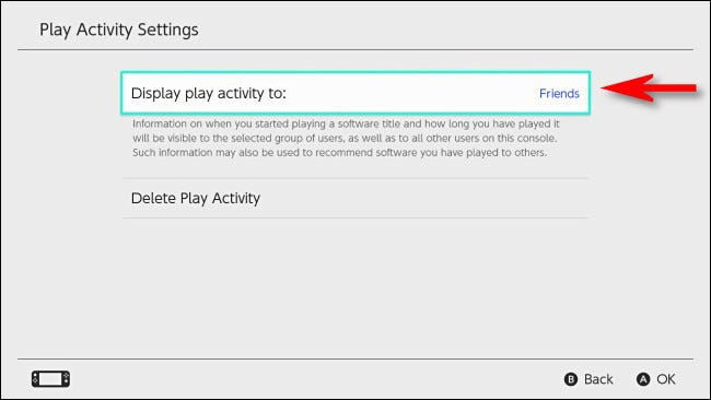 "In Nintendo Switch settings, select ""Display play activity to."""