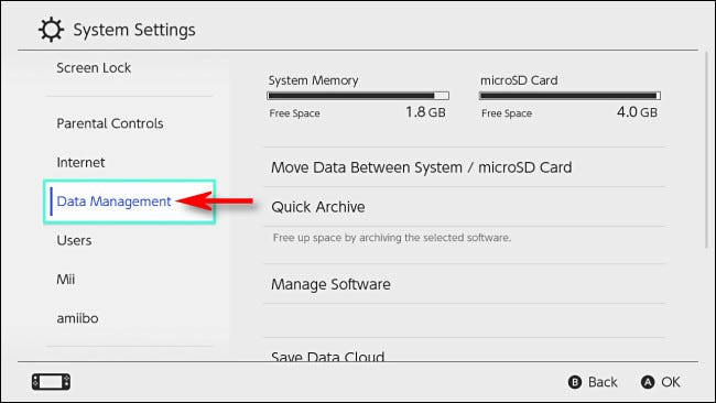 "In Switch System Settings, select ""Data Management."""