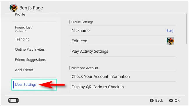 "On your Switch profile page, select ""User Settings."""