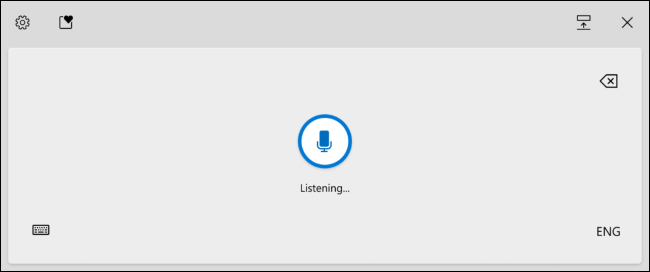 Windows Voice Typing activated in Windows 10's touch keyboard.