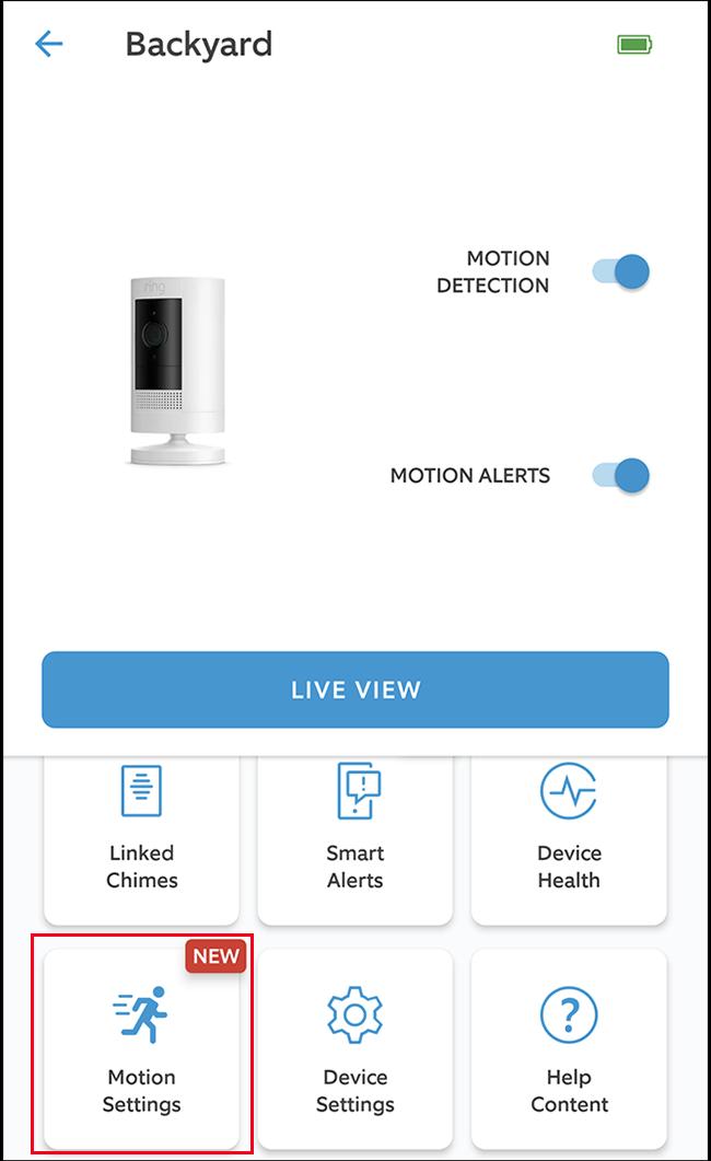 "Select the ""Motion Settings"" option."