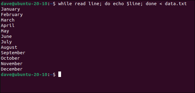 while read line; do echo $line; done < data.txt in a terminal window