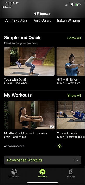 downloaded workouts screen