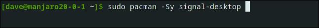 sudo pacman -Sy signal-desktop egy terminál ablakban