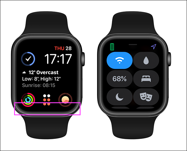 how to open apple watch control center