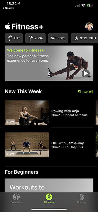 apple fitness+ main screen