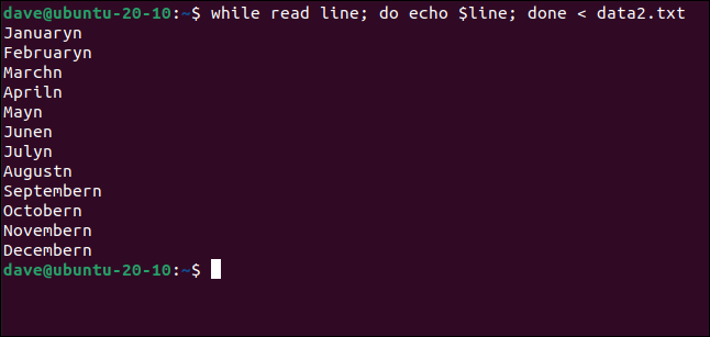 while read line; do echo $line; done < data2.txt in a terminal window