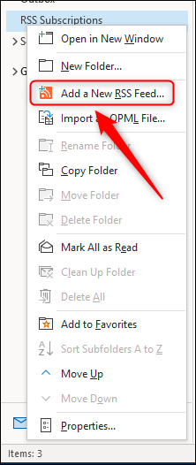 "The ""Add a New RSS Feed"" menu option."
