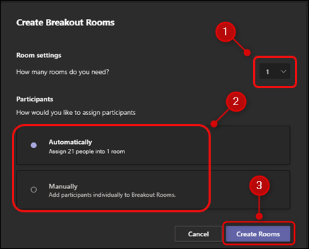 """The """"Create Breakout Rooms"""" panel."""