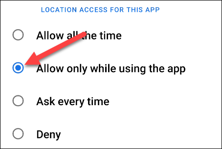 change the location permission