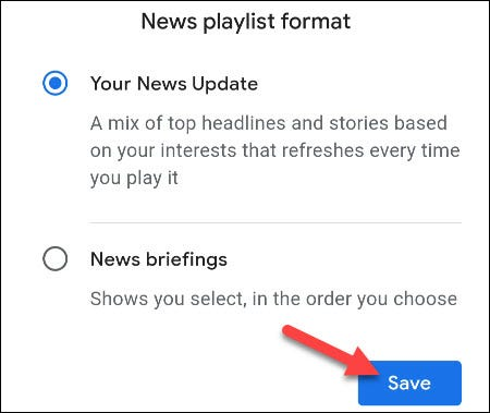 select a news format