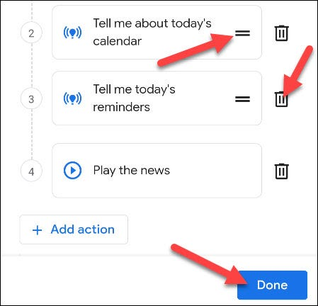 edit the routine actions
