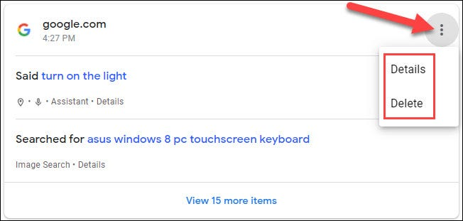 three dot menu for more options