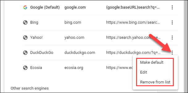 edit the search engines