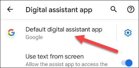seleziona l'app dell'assistente digitale predefinita
